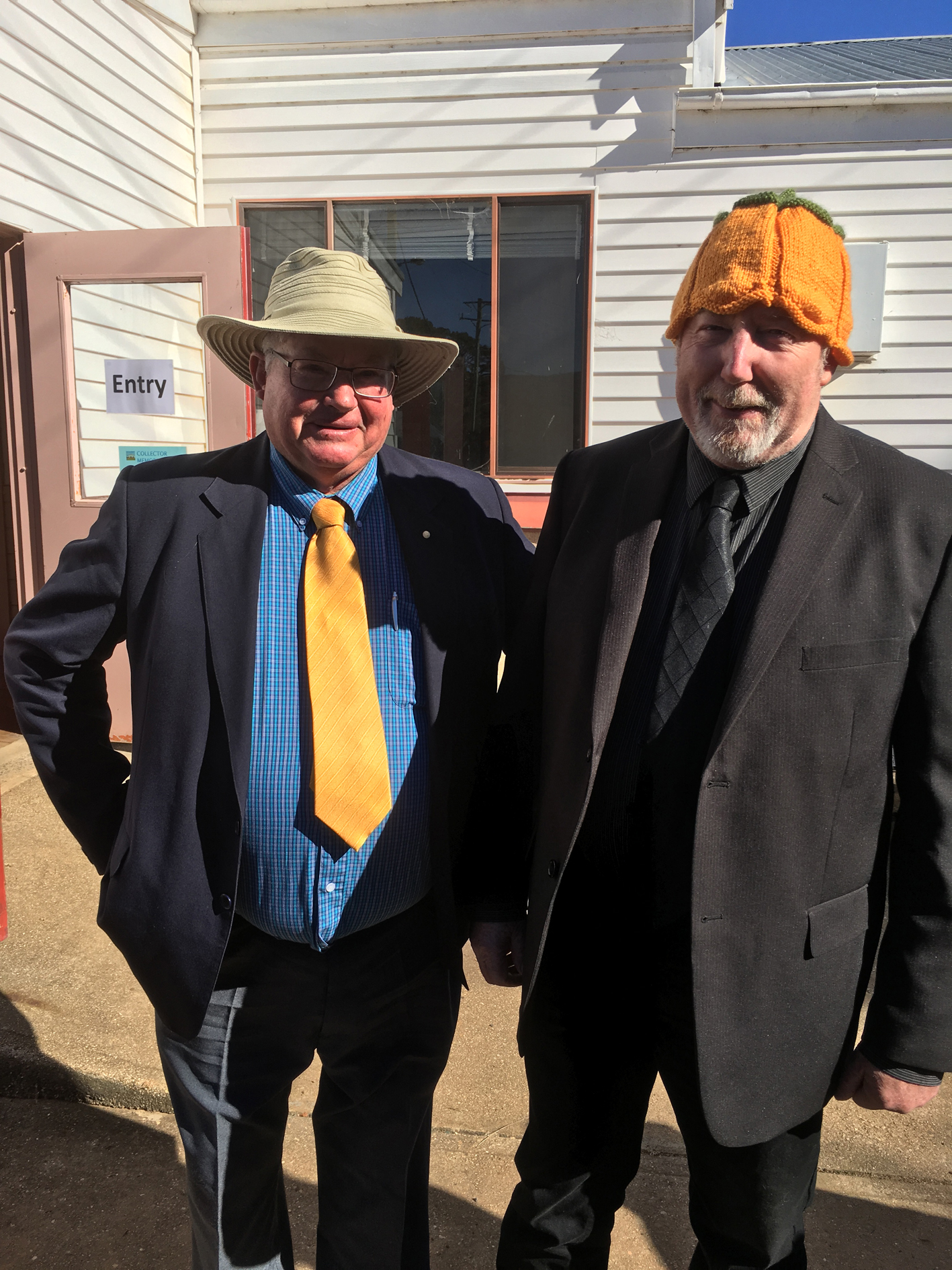 Upper Lachlan Shire Council Mayor Brian McCormack OAM and Cr John Searl at the 2018 Collector Village Pumpkin Festival.